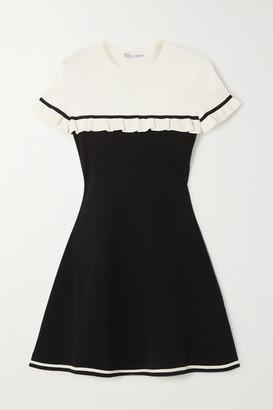 RED Valentino Two-tone Ruffled Stretch-knit Mini Dress - Black