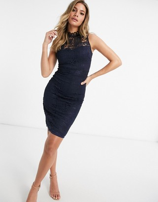Lipsy lace pencil dress in navy
