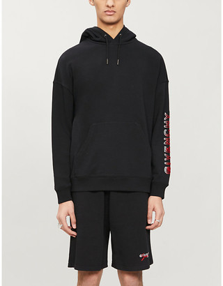 Givenchy Flocked brand-print cotton-blend jersey hoody