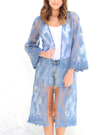 Paparazzi Chambray Sheer Lace Duster