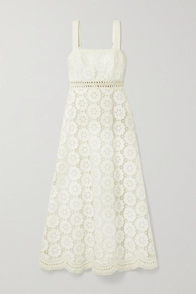 Zimmermann Bells Linen And Cotton-blend Guipure Lace Midi Dress - Ivory