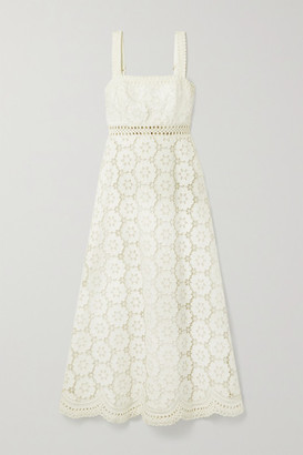 Zimmermann Bells Linen And Cotton-blend Guipure Lace Midi Dress - Ivory