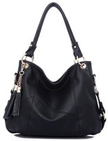 Katoony Womens Girls Cow Leather Tassel Hobo Shoulder Handbag Tote Crossbody Bag Daily Purse Satchel