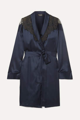 I.D. Sarrieri Embroidered Tulle-trimmed Silk-blend Satin Robe - Navy