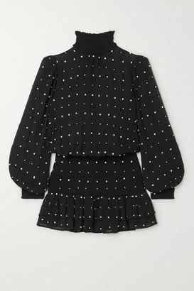 retrofete Hedy Crystal-embellished Silk-georgette Mini Dress - Black
