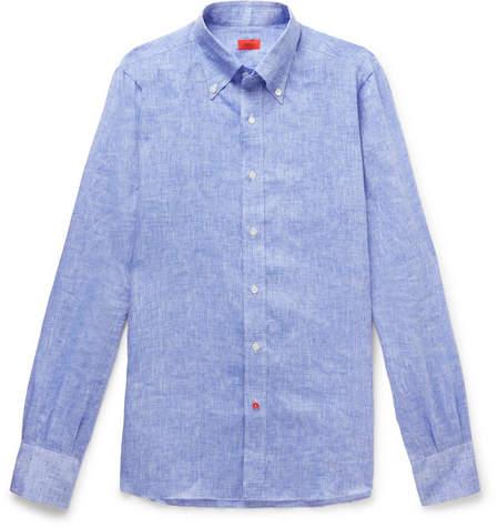 Isaia Button-Down Collar Mélange Linen Shirt