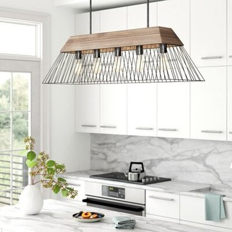 Foundstone Adrianna 5 - Light Kitchen Island Linear Pendant with Wood Accents