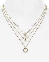 Aqua Chrissy Gold Ring Layered Necklace, 14