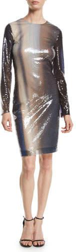 Roberto Cavalli Long-Sleeve Degrade Liquid-Paillette Cocktail Dress
