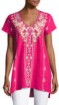 Johnny Was Christine Embroidered Linen Drape Top, Petite