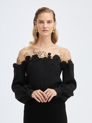 Oscar de la Renta Silk Stretch-Georgette Embroidered Blouse