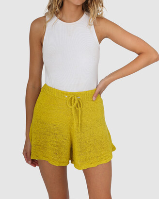 Lost in Lunar - Women's Yellow High-Waisted - Amy Knit Shorts - Size One Size, 6 at The Iconic