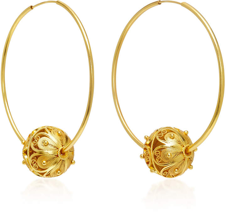 Mallarino Gala Embellished Filigree Ball Hoop Earrings