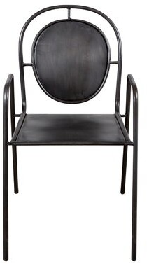 "Wrought Studioâ""¢ Mersey Metal Slat Back Stacking Arm Chair in Black Wrought Studioa"