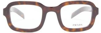 Prada Tortoiseshell-effect Rectangle Acetate Glasses - Tortoiseshell