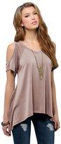 Urban CoCo Women's Vogue Shoulder Off Wide Hem Design Top Shirt (XL, )