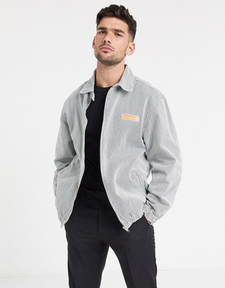 ASOS Day Social denim harrington jacket in white pinstripe
