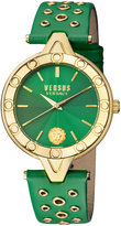 Versus By Versace 34mm V Versus Eyelet Watch w/ Leather Strap, Green