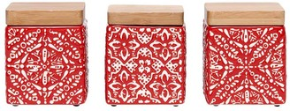Ladelle Arise Mini Stoneware Canister Set of 3 Red