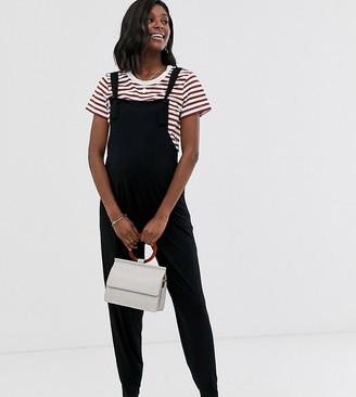 ASOS DESIGN Maternity lounge jersey dungaree jumpsuit in black