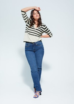 MANGO Violeta BY Combined striped sweater off white - S - Plus sizes