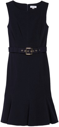 Calvin Klein Solid Sleeveless Belted Ruffled Sheath Dress