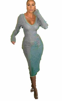GirlzWalk Ladies Long Sleeve Knitted V Front and Back Ribbed Bodycon Party Dress (Silver 8-10)