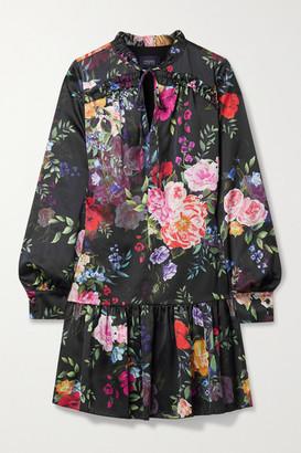 Marchesa Notte Ruffled Floral-print Charmeuse Mini Dress - Black