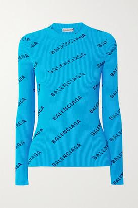 Balenciaga Printed Ribbed-knit Top - Blue