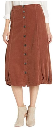 XCVI Exposed Buttons Skirt in Wale Cord (Sumac Pigment) Women's Skirt