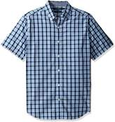 Nautica Men's Big and Tall Short Sleeve Large Plaid Button Down Shirt