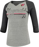 Outerstuff Women's Juniors Larry Fitzgerald Heathered Gray/Black Arizona Cardinals Over the Line Player Name & Number Tri-Blend 3/4-Sleeve V-Notch T-Shirt