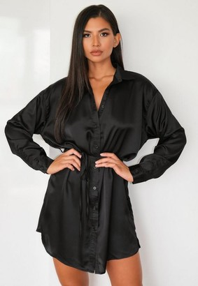 Missguided Petite Black Satin Self Tie Oversized Shirt Dress