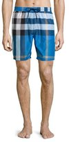 Burberry Mid-Length Check Swim Trunks, Cerulean Blue