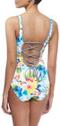 tommy bahama floralprint laceup back onepiece swimsuit