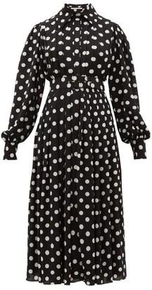 Emilia Wickstead Anatola Pleated Polka-dot Crepe Shirtdress - Womens - Black White