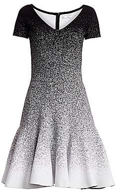 Oscar de la Renta Women's Glitter Ombré V-Neck Short-Sleeve A-Line Flounce Dress