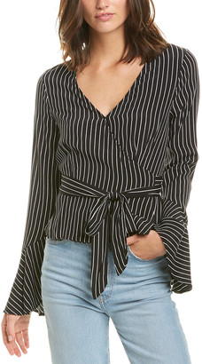 Three Dots Crepe Wrap Blouse