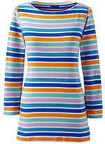 Classic Women's Plus Size 3/4 Sleeve Cotton Boatneck Top-Ivory Multi Stripe