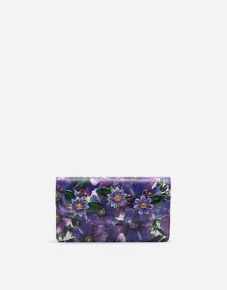 Dolce & Gabbana Dauphine Calfskin Mini Bag With Anemone Print And Embroidery