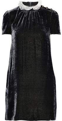 Philosophy di Lorenzo Serafini Ruffled Lace-trimmed Crushed-velvet Mini Dress