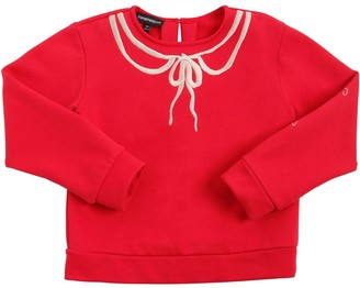 Emporio Armani Cotton Sweatshirt W/ Embroidered Bow