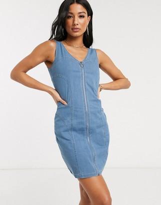 Qed London denim zip through dress in midwash blue