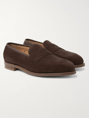 Edward Green Piccadilly Leather-Trimmed Suede Penny Loafers - Men - Brown