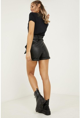 Quiz PU High Waist Tie Belt Short - Black