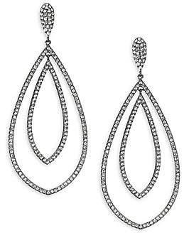 Adriana Orsini Women's Rhodium Plated Pavé Crystal Teardrop Earrings