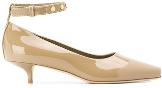 Burberry Patent leather peep-toe kitten-heel pumps