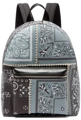 Amiri Bandana-print Whipstitched Cotton-canvas Backpack - Black White