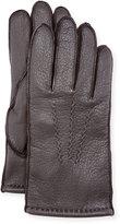 Neiman Marcus Three-Point-Stitch Leather Gloves, Brown
