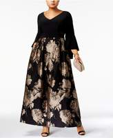 Xscape Evenings Plus Size Brocade Bell-Sleeve Gown